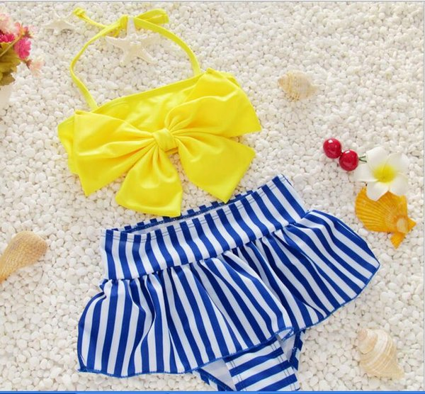 top popular 3 color 2017 new arrivals hot selling girl kids bikini summer girl big bow girl Princess swimsuit Small fresh sling two pieces swimsuit 2020