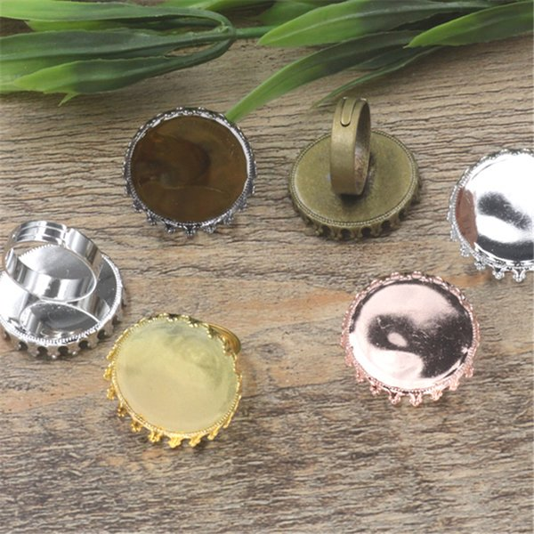BoYuTe 20Pcs 6 Colors Round 25MM Cabochon Ring Base Vintage Jewelry Findings & Components Adjustable Ring Blanks
