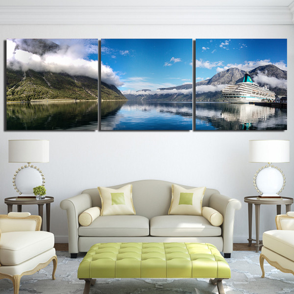 3 Pcs/Set Nature Landscape Mountain Sky Lake Canvas Paintings Home Decor Wall Art Framed Posters HD Prints Pictures Painting