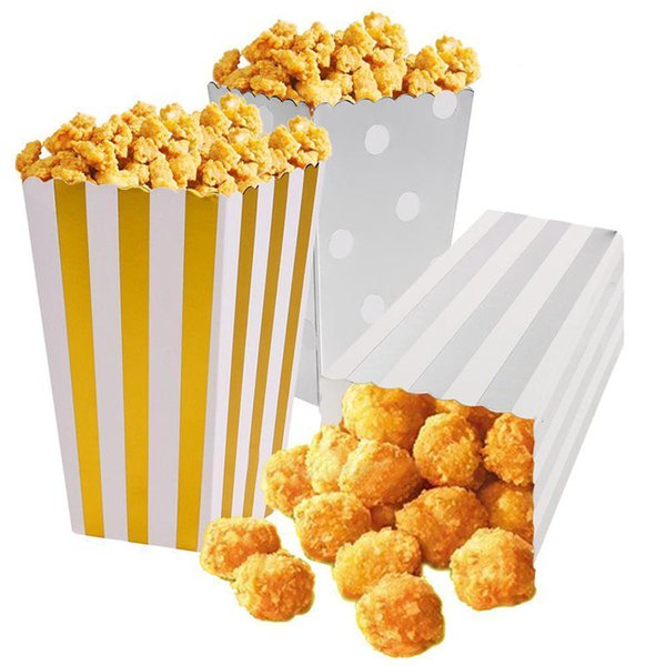 12pcs/lot Gold/Silver Metallic Mini Party Paper Popcorn Boxes Candy/Snack Favor Bags Wedding Birthday Movie Party Supplies V4014