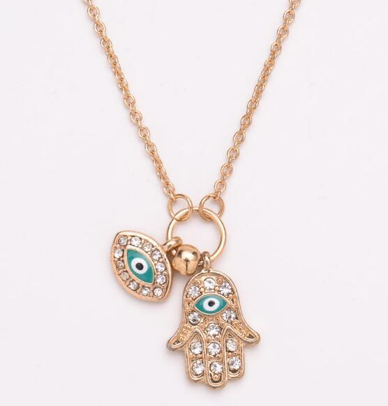 Fashion The Hand of Fatima Pendant Gold Silver Turkish Jewelry Hand Shape Turkey's Blue Eyes Necklace Free Shipping