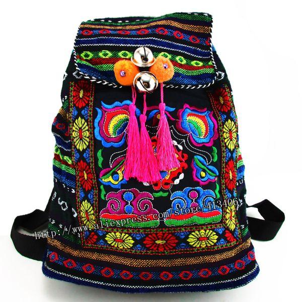 All'ingrosso - Tribale Vintage Hmong Thai Indiano Ricamo etnico Boho Boho zaino Boho hippie etnico borsa, zaino borsa taglia L SYS-170R