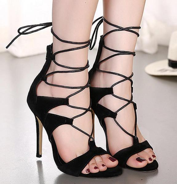 Schöne Pop-Mode mit hohen Absätzen dünne Fersen Open Toe Lace Up Heels Sandalen Schuhe aus echtem Leder Frauen Pumps Schuhe Sexy Pumps Heels