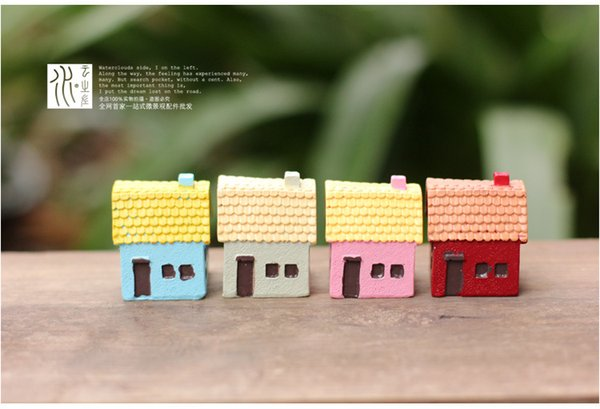 Neue Mini Hausbau Fee Garten Miniaturen Figuren Terrarium Dekor Kunstharz Handwerk Bonsai Wohnkultur für DIY