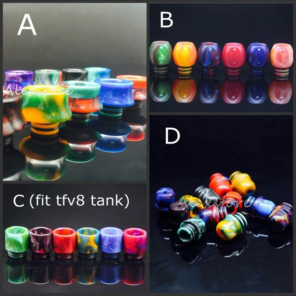 4 Styles Epoxy Resin Ball Driptip 510 Drip Tips Resin Stone Drip Tip for TFV8 Tank RDA Atomizer Colorful Wide Bore Mouthpiece DHL