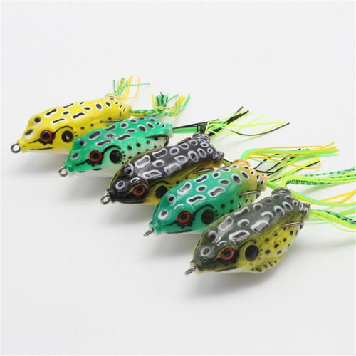 5PC Large Frog Topwater Soft Fishing Lure Crankbait Hooks Bass Bait Tackle New Bright colors to attract big fish