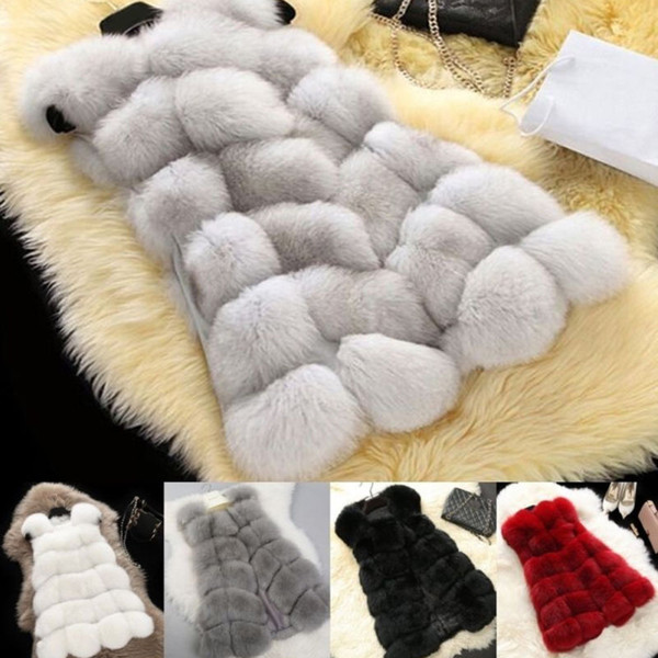 Womens Winter Faux Fox Fur Gilet Waistcoat Jacket Coat Vest Outwear Gilet Women Warm Gilets Outwear Long Slim Vest Faux Fox Fur