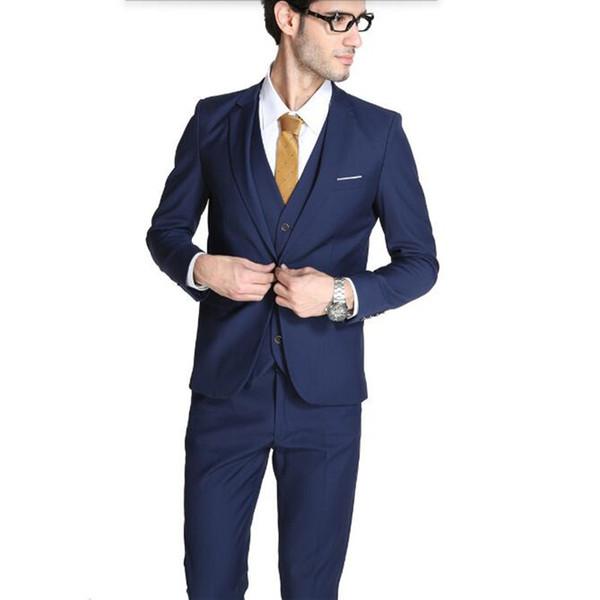 Blue men suits tuxedos new style groom wedding suits tuxedos tailor made groomsman prom suits for men(jacket+vest+pants)