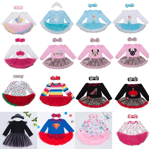 76 Styles Baby girls INS Christmas Rompers lace dress children Long sleeve romper +Bows headbands 2pcs sets baby Xmas pattern Santa Clothes