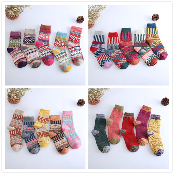 top popular 5 Styles Wool Socks Women Winter Thermal Warm Socks Female Crew Fashion Colorful Thick Socks Ladies Casual National style Sock Free Shipping 2021