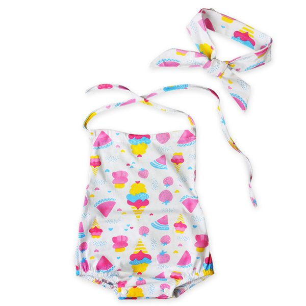 Baby girls cute ice cream halterneck Romer 2pc set bowknot headband+romper watermelon strawberry ice-cream cone pattern ins hot jumpsuit