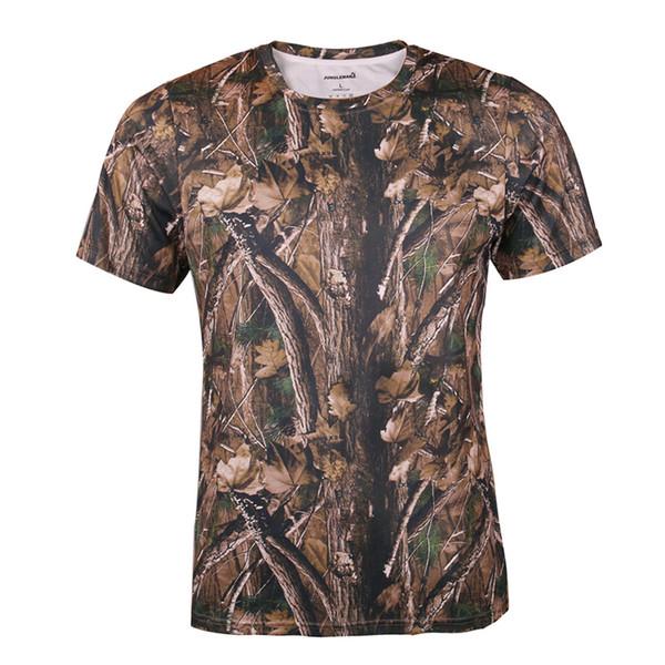 T-shirt tático Verão 3D camuflagem camuflagem caça ao ar livre de manga curta de pesca ao ar livre artes de pesca de algodão de montanhismo T-shirts