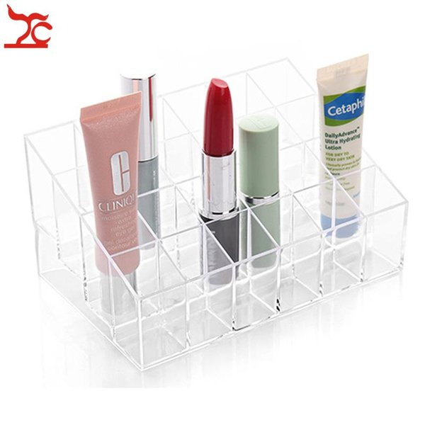 Free Shipping 2PCS Trapezoid Plastic Makeup Display Stand 14.5*9.5*7CM 24 Grid Cosmetic Orgazizer Case Clear Acrylic Lipstick Holder