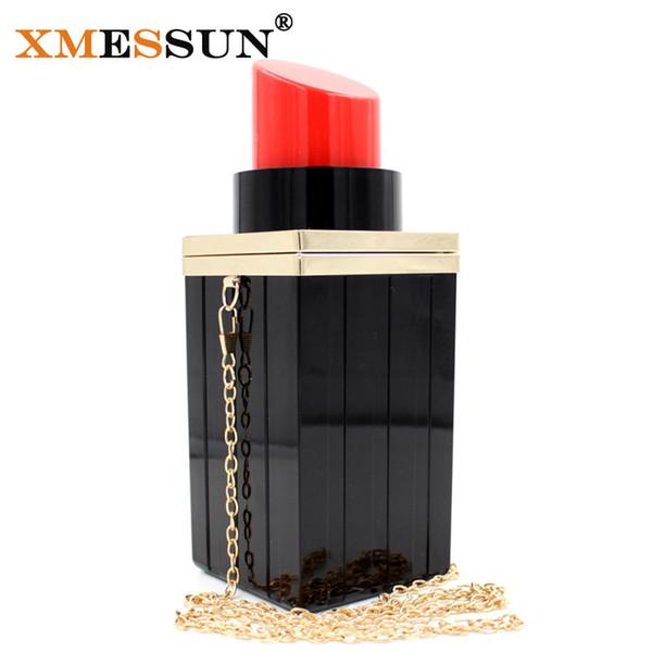 Wholesale- 2016 New Black Lipstick Shape Evening Bags Luxury Chain Shoulder Messenger Bag Vintage Tote Purse for Women Party Bag B695