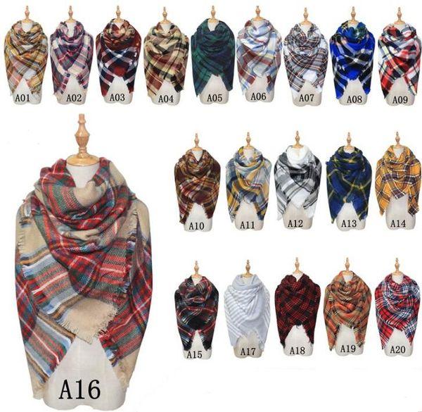 Neue Schals Plaid Decke Schal Frauen Tartan Quasten Schal Grid Schal Wrap Lattice Halstuch Cashmere Schalldämpfer Mode Winter Check Pashmina