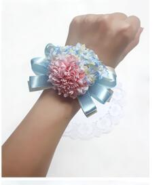 pink blue wrist flowers