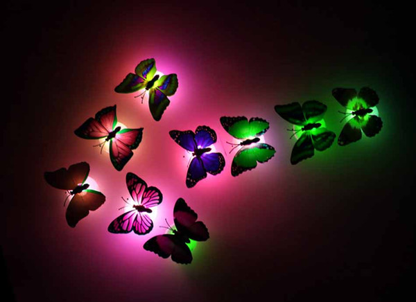 best selling Wholesale Profeesioanl 7 Color Changing Butterfly LED Night Light Lamp with Suction Pad Home Romantic Decor
