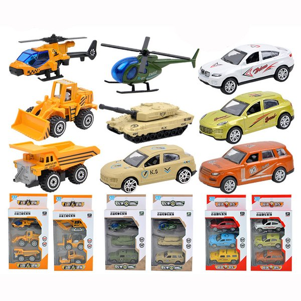 1:64 3 IN 1 Educational Toys Engineering Military Gliding Alloy Car Engineering Model Squares Selling Toys Wholesale for Children Kids