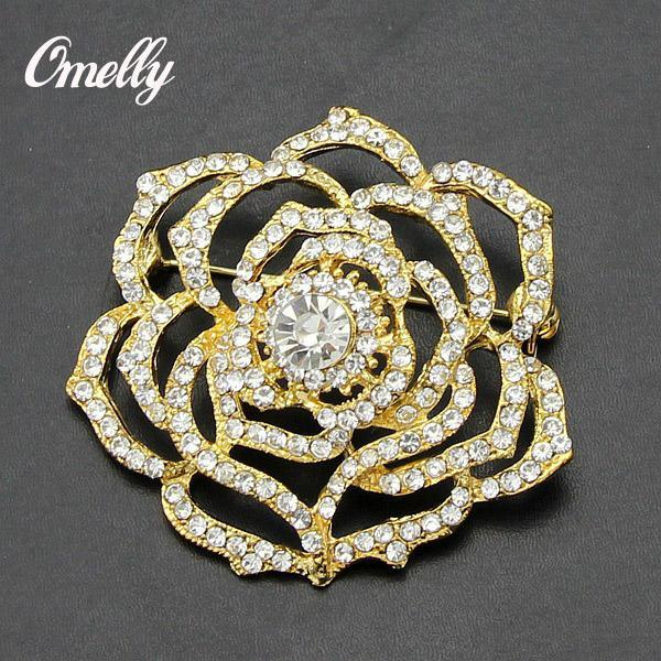 Luxury Vintage Gold Filled Flower Brooch Pin Crystal Rhinestone Brooch Flower Bridal Brooch Pins Cluster Wedding Dress Brooches