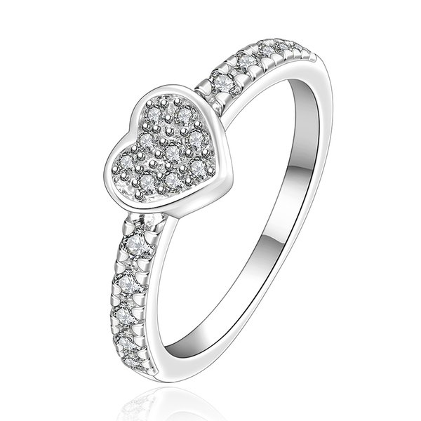 Wholesale 925 Silver Ring Pretty Heart With Zircon Finger Rings For Women New Fashion Jewelry Free Shipping r161