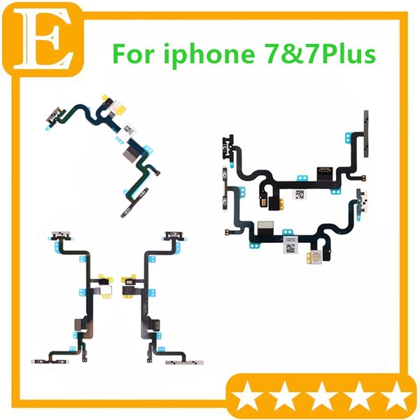 Power Volume Button Mute Switch On Off Flex Cable With Metal Bracket Replacement For iPhone 7G 4.7'' 7 Plus 5.5'' 50PCS