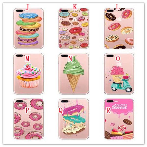 Panda Donuts Ice Cream Soft TPU Case For Iphone 7 PLUS I7 7PLUS 6 6S SE 5 5S Cartoon Letter Bear Silicone Phone Shop Sweet Skin Cover 20PCS