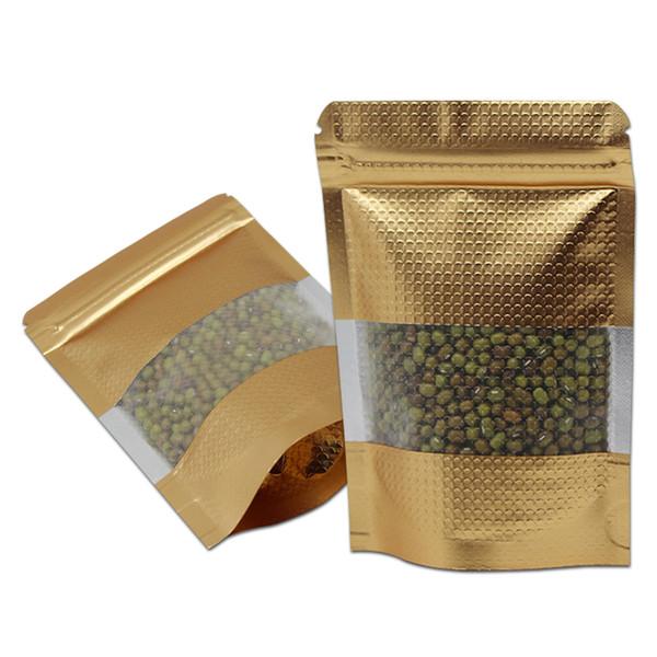 300pcs / Lot Pencereli Isı Seal Doypack Mylar Çanta Packaging Yukarı Altın Alüminyum Folyo Fermuar Kabartmalı Çanta Şeker Çay Poly Standı