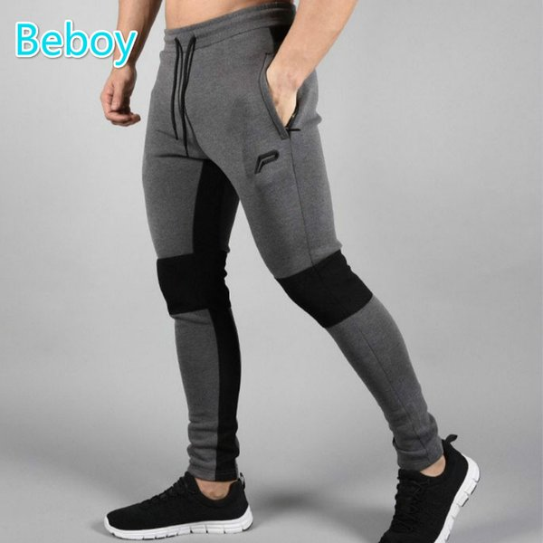 Wholesale- Beboy Elastic Cotton Gym Fitness Pants Men Running Tights Skinny Workout Pants Trousers Outdoor Sport Sweatpants with Pocket