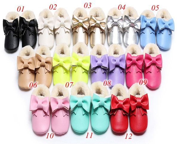 top popular Autumn winter infant warm fur boots Leather Baby Moccasins Shoes with bow Baby Shoes Newborn first walker Infant girls bow boots 2019