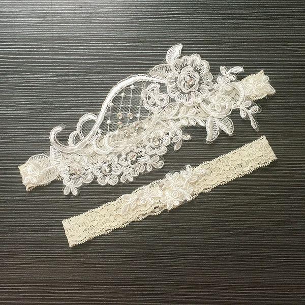 Branco das Mulheres Sexy Lingerie Garter Rendas Cinto de Pernas Anel Harness Mulheres Ligas de Casamento de noiva Flor Apliques Garter Set
