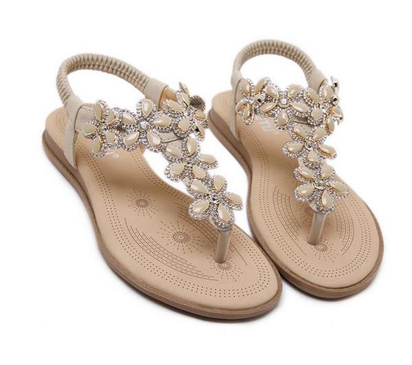 2017 New bohemian T strap flower crystal flat heel flip flop women beach sandals plus size 35 to 40 41