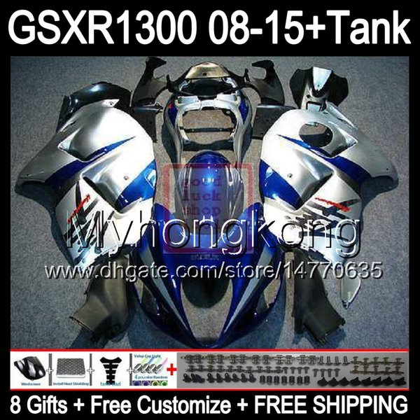 8gifts For SUZUKI Hayabusa GSXR1300 08 15 GSXR-1300 gloss silver 14MY2 GSXR 1300 GSX R1300 08 09 10 11 12 13 14 15 Fairing blue silver Kit