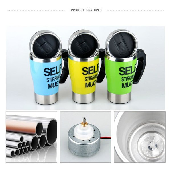 DHL Free Automatic Electric Self Stirring Mug Fashion Bottle Coffee Mixing Drinkware Cup Stainless Steel 400ml 5 color