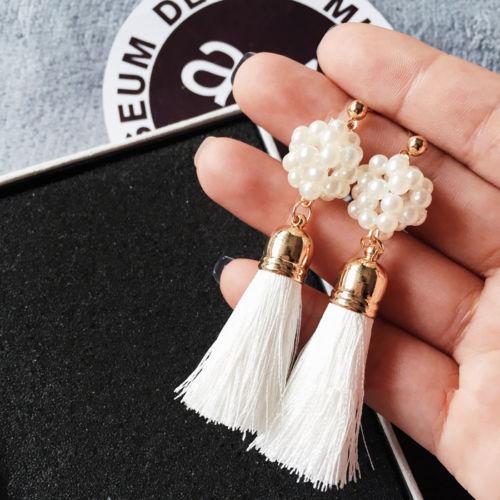 2018 fashion Gorgeous Pearl Long Thread Tassel Earrings Fringe Drop Dangle Earrings for Women