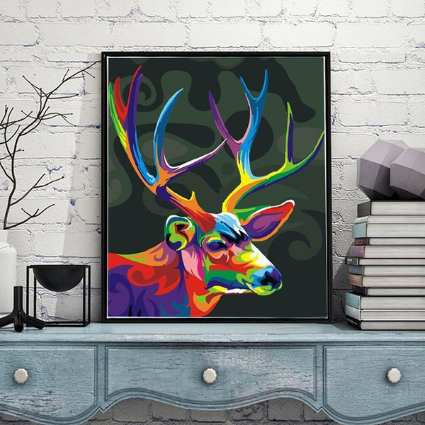 Color Deer Head Diy Paint By Numbers Hand Painted Canvas Painting Home Living Room Office Decor Painting For Living Room Unique Gift