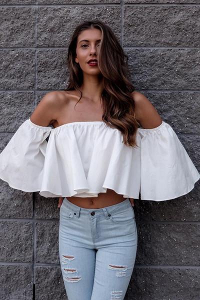 Novo Design Verão Barra Pescoço Blusa Sexy Ladies 3/4 Tanque Tops Camis Mulheres Fora Do Ombro Camiseta Top Colheita Cropped