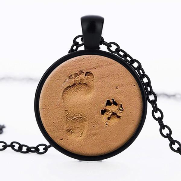 Nette schwarze Bronze Silber Glas Pfote Print Footprint Halskette Anhänger für Hund Liebhaber Valentinstag Geschenk Persönlichkeit Schmuck