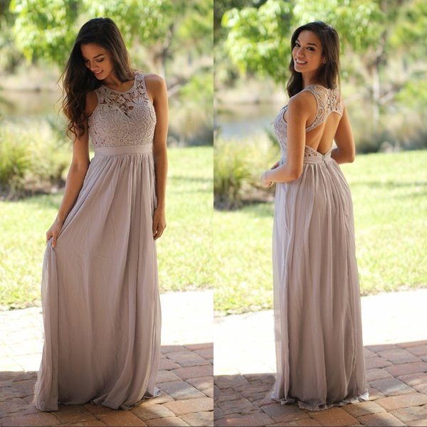 Cheap Grey Lace Chiffon Country Bridesmaid Dresses For Wedding 2018 Modest Keyhole Back Sexy Long Wedding Guest Dress Prom Party Gowns