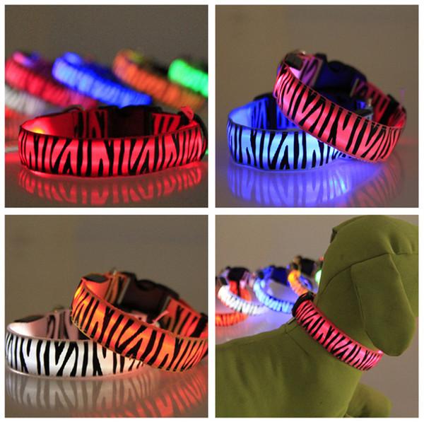 Zebra Pet Dog Collier LED Glow Colliers de chat Clignotant Nylon Cou Light Up Collier de formation pour chiens