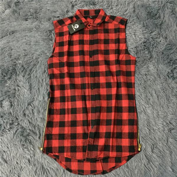 Abbigliamento hip-hop tyga mens moda camisa masculina swag plaid camicie senza maniche lato cerniera oro uomo esteso camicia abito da uomo
