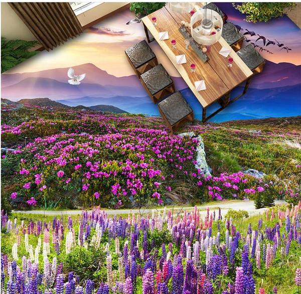 3d murales per il pavimento stereoscopico carta da parati autoadesiva personalizzato pavimento 3d Piante fiori sfondi per soggiorno