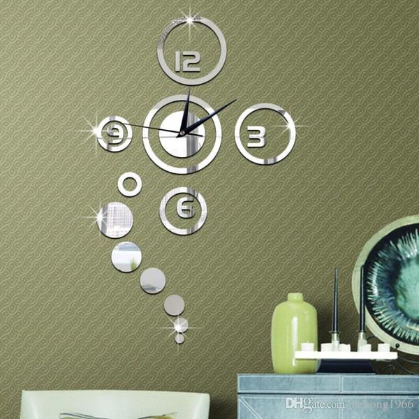 Mirror Wall Stickers DIY Fashion 3D Clock Personality Sofa Backdrop High Grade Living Room Home Decor Practical Art 15lk F R