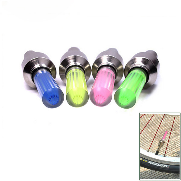 Novedad Car Bike LED Flash Tire Light Rueda Válvula Stem Cap verde azul rojo amarillo Lámpara Motorbicycle Rueda Luz 1000 UNIDS LOTE