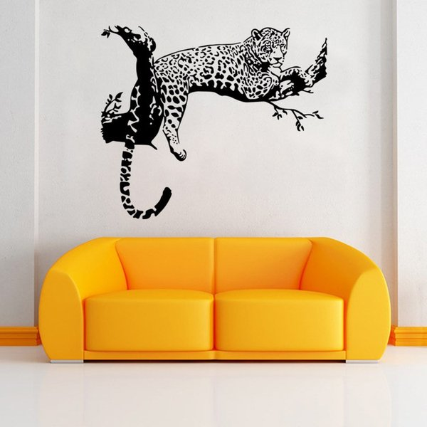 AW9320 New Leopard Tiger Vinyl Wall Stickers Home Decor Living Room DIY Art Mural Decals Removable Creative Branch Wall Sticker