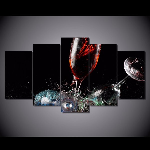 5 Pcs/Set Framed HD Printed Broken glass Painting Canvas Print room decor print poster picture canvas Free shipping/NY-5872