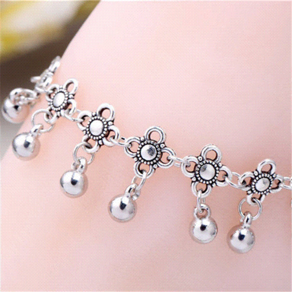 Hot fashion tassel anklet CCB silver alloy anklet Bracelet Foot Jewelry anklets for women chaine cheville pulseras tobilleras