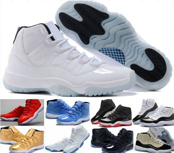 Haute Qualité Gamma Bleu Bred Femmes Hommes 11s Basketball Chaussures 11 Espace Jam Concord Chaussures Athlétiques Chicago Gym Rouge Sneakers 36 47