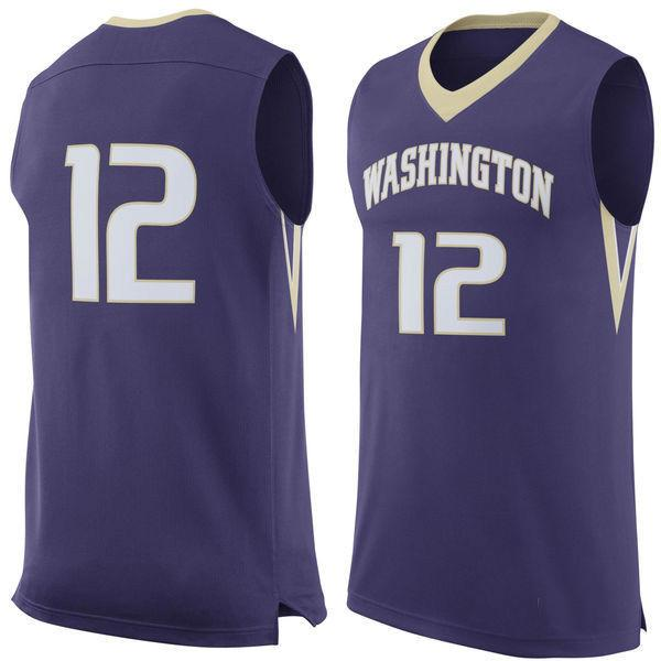 NO.12 Washington Huskies Hommes College Basketball Jersey broderie Athlétique Vêtements de Plein Air Hommes Sport Maillots Taille S-3XL