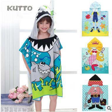 Creative Beach Towels Kids Robes Bathrobe Funny Cartoon Towels Cape Hooded Cloak Children Cute Printed Swimming Towels