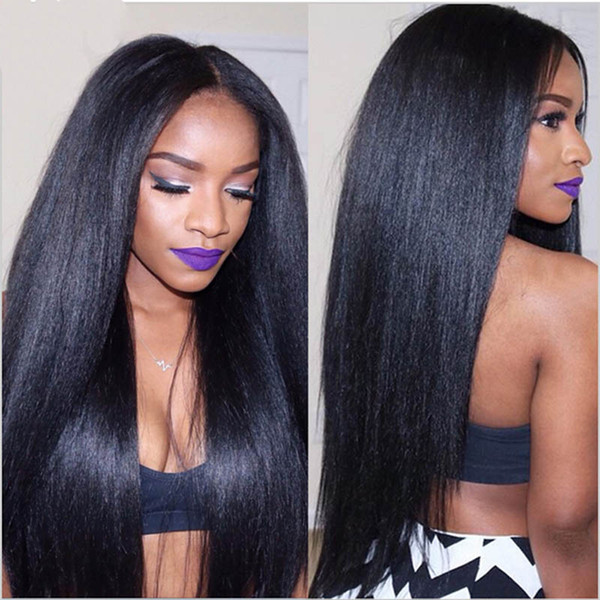 9A Italian Yaki Full Lace Wig With Baby Hair Yaki Straight Lace Front Wigs For Black Women Brazilian Virgin Human Hair Wigs